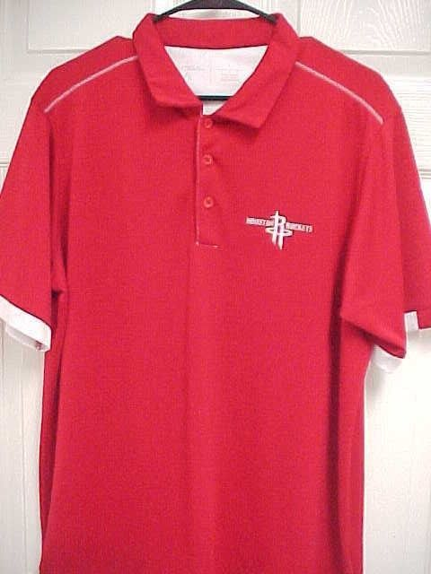 Houston Rockets Men Embroidered Red Short Sleeve Golf Polo Shirt L
