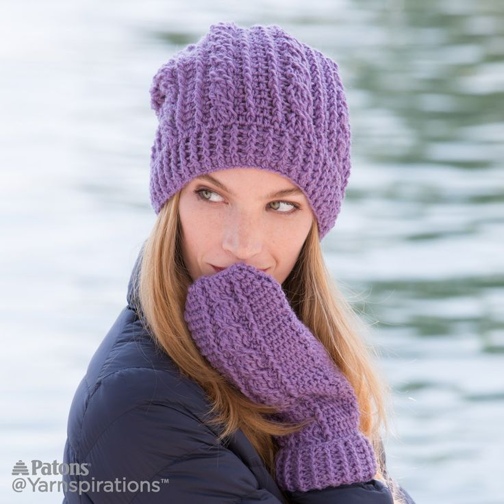 Crochet Cables Hat And Mittens Set Free Pattern Yarnspirations Crochet Cable Hat Pattern Crochet Cable Crochet Cable Stitch Pattern
