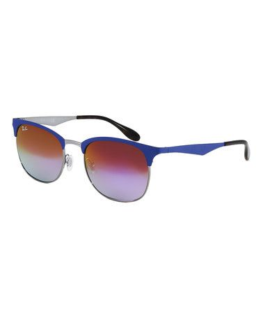 This Matte Blue & Gradient Violet Clubmaster Sunglasses is perfect! #zulilyfinds