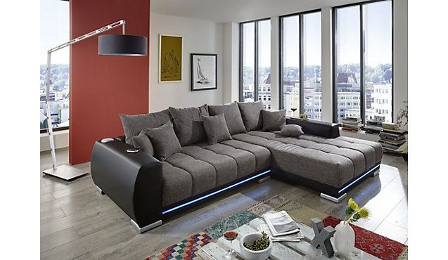 sofa anaheim mit led beleuchtung und lautsprechern in vielen farben ecksofa eckcouch. Black Bedroom Furniture Sets. Home Design Ideas