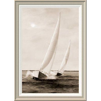 Global Gallery 'Blue Sails' by Diane Romanello Framed Painting Print Size: