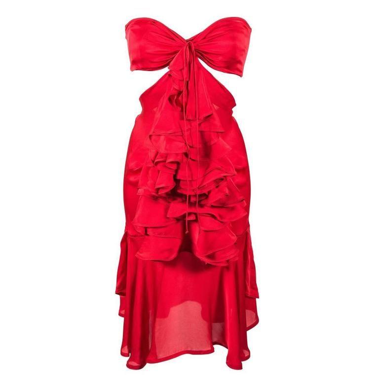Tom Ford for Yves Saint Laurent Fall 2003 Red Silk Ruffle Dress FR36…