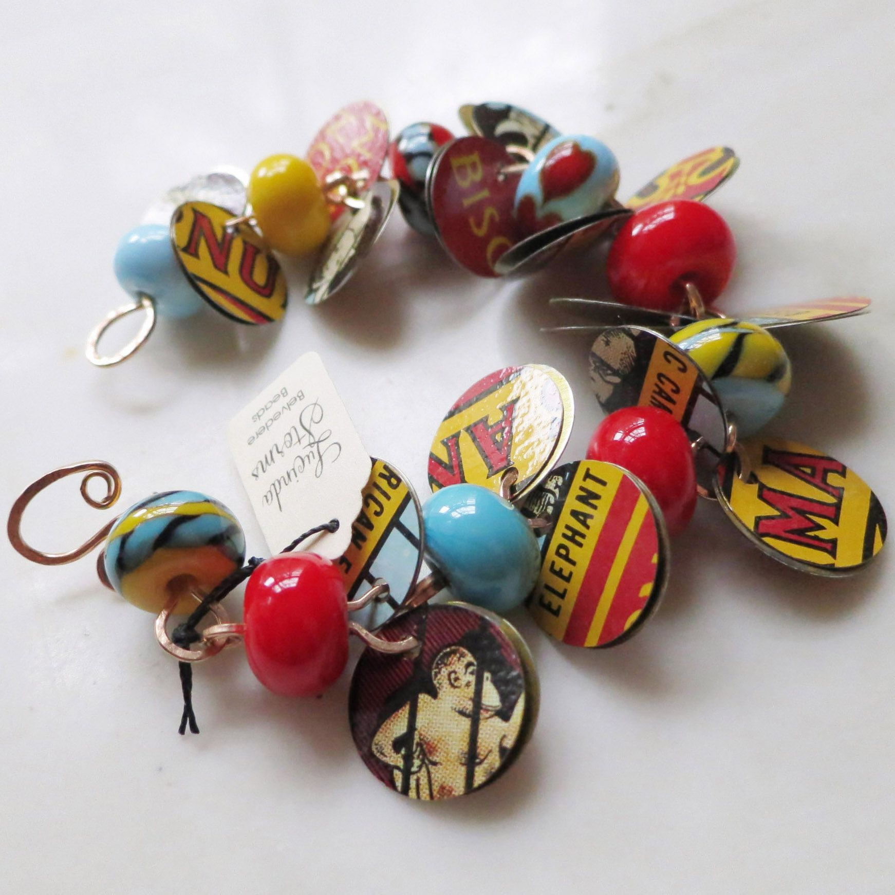 Lucinda Storms : Belvedere Beads - Animal Crackers bracelet - tin spangles, glass & bronze