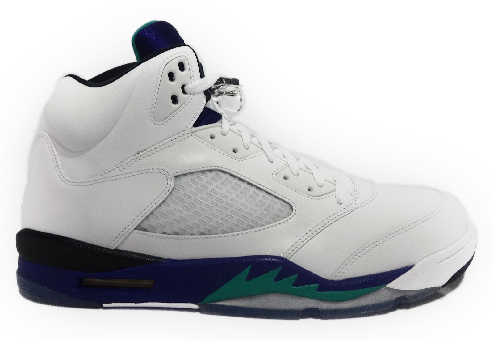 official photos 4e7d9 34063  136027-108  AIR JORDAN 5 RETRO WHITE NEW EMERALD GRAPE BLK MEN SNEAKERS Sz  9