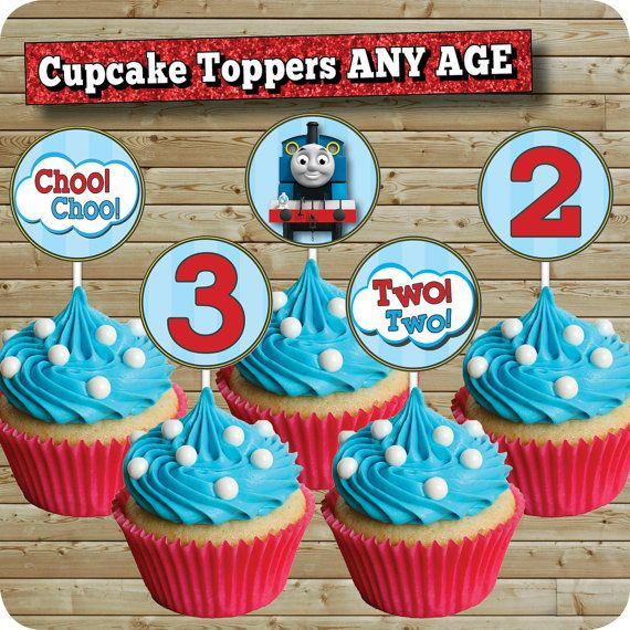 Thomas The Train Cupcake Toppers Birthday Party 2 Inch Cake Signs 12 Per Page Matching Invitation Any Age