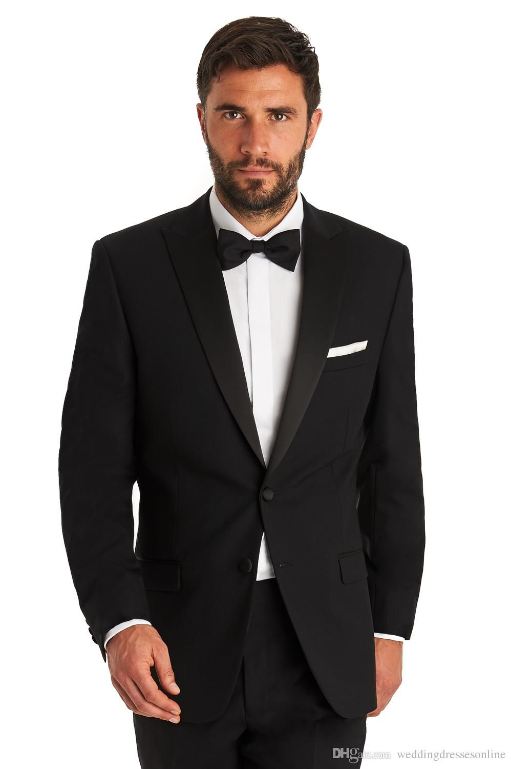 Formal Black Groom Tuxedos With Bow Tie Peaked Lapel Wedding Party ...