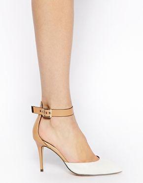 Image 4 ofRiver Island Pharra Beige Ankle Strap 2 Part Mid Heel Court Shoes