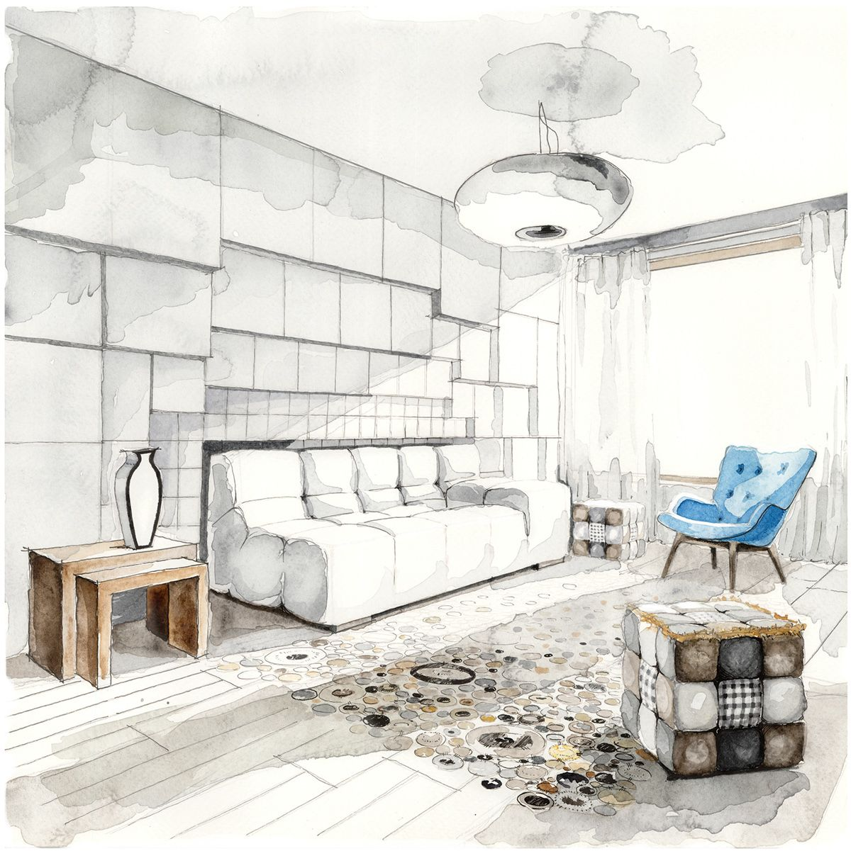 Materials And Furniture Stage Of An Interior Project In Process Realization Design SketchesInterior Architecture DrawingInterior