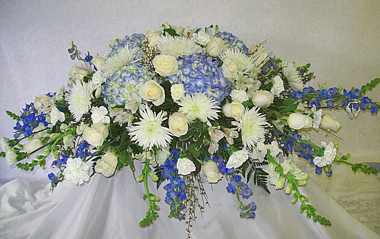Blue And White Casket Spray Funeral Flower Arrangements Funeral Floral Arrangements Casket Sprays
