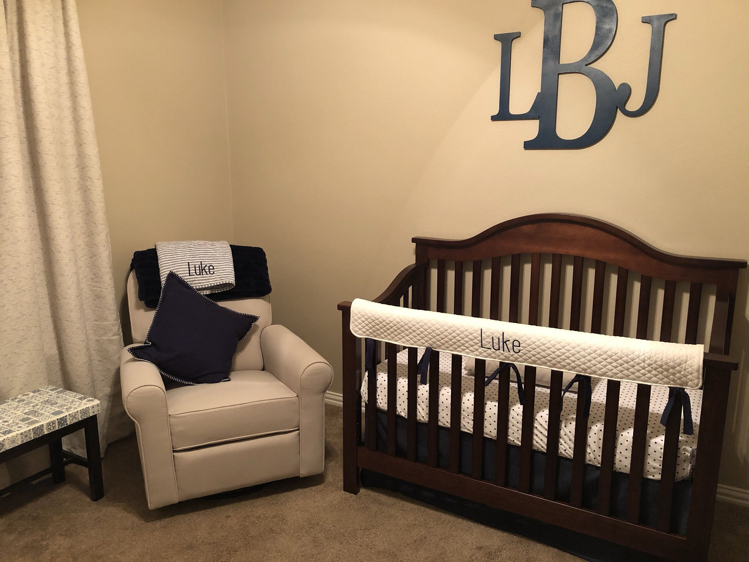 Crib rail cover white or gray name and ties or colors of