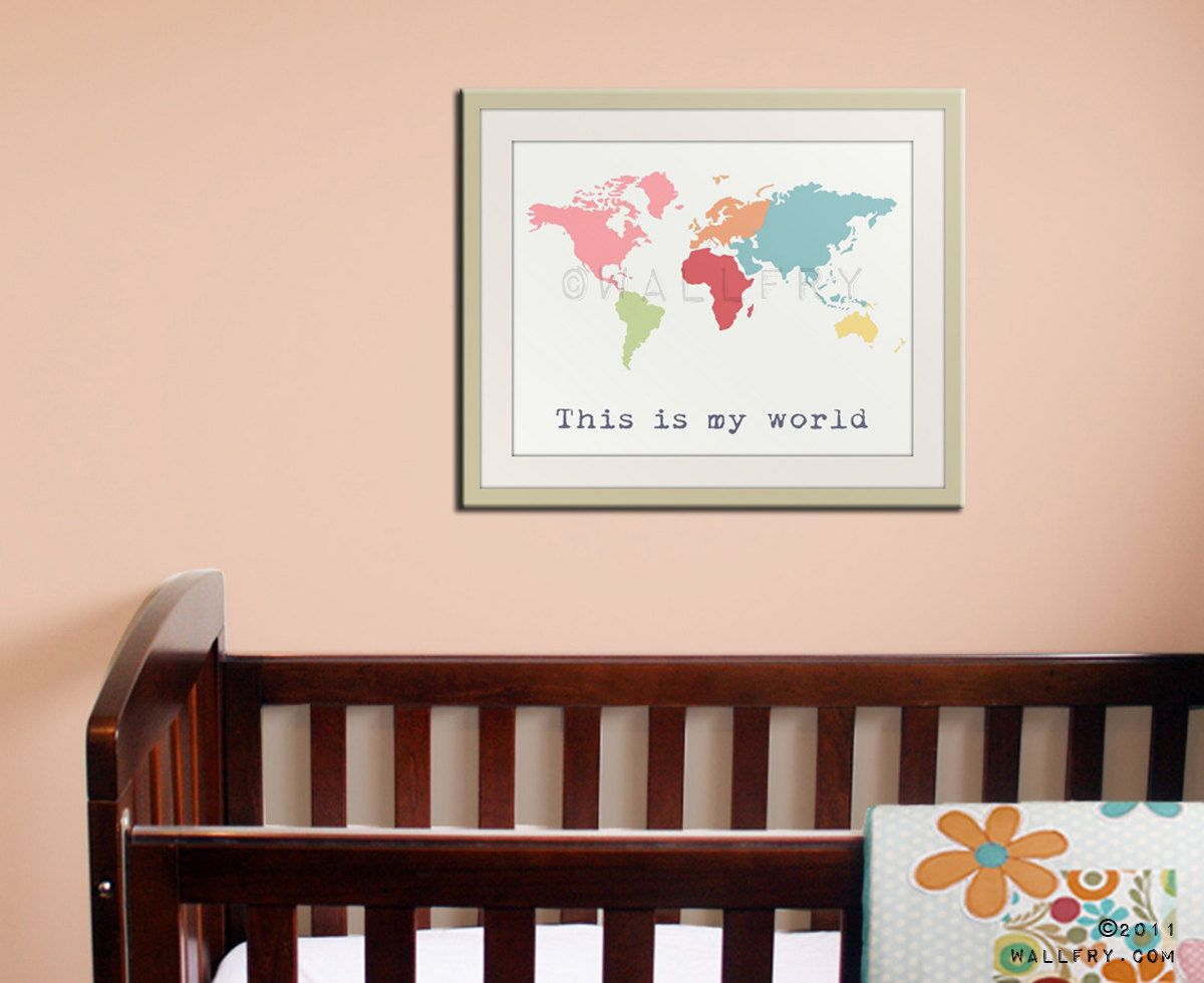 World map childrens art kids wall art for children baby nursery