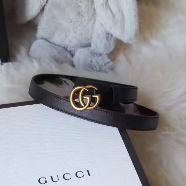 827cca48cf4 Gucci woman leather belt thin style Black Gucci Belt