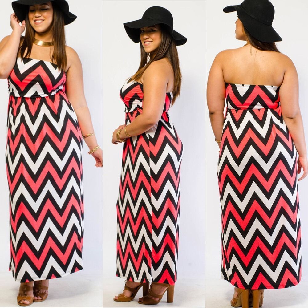 New Plus Size Chevron Pink Black And White Tube Boho Maxi Dress Size