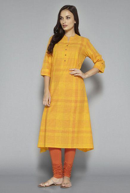 d2852bdcf ... Women Online @ Tata CLiQ. Utsa by Westside Yellow Checks Kurta