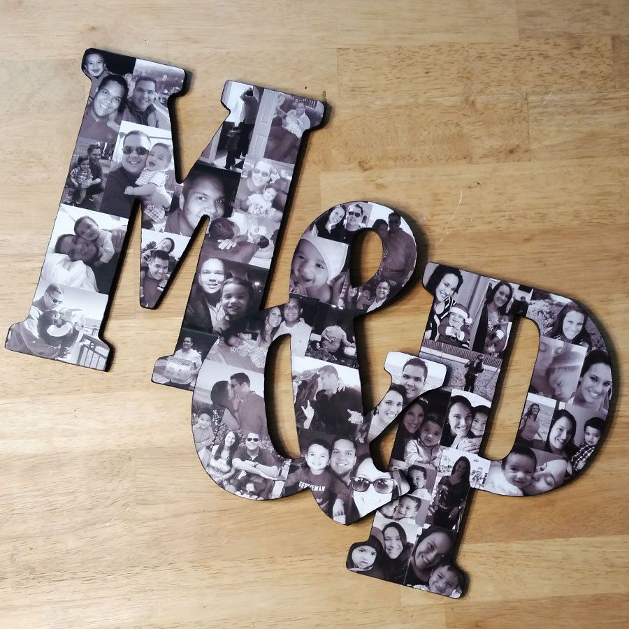 10″ Custom Photo Collage Letter and Custom Photo Collage Frame for Personal Photo Display