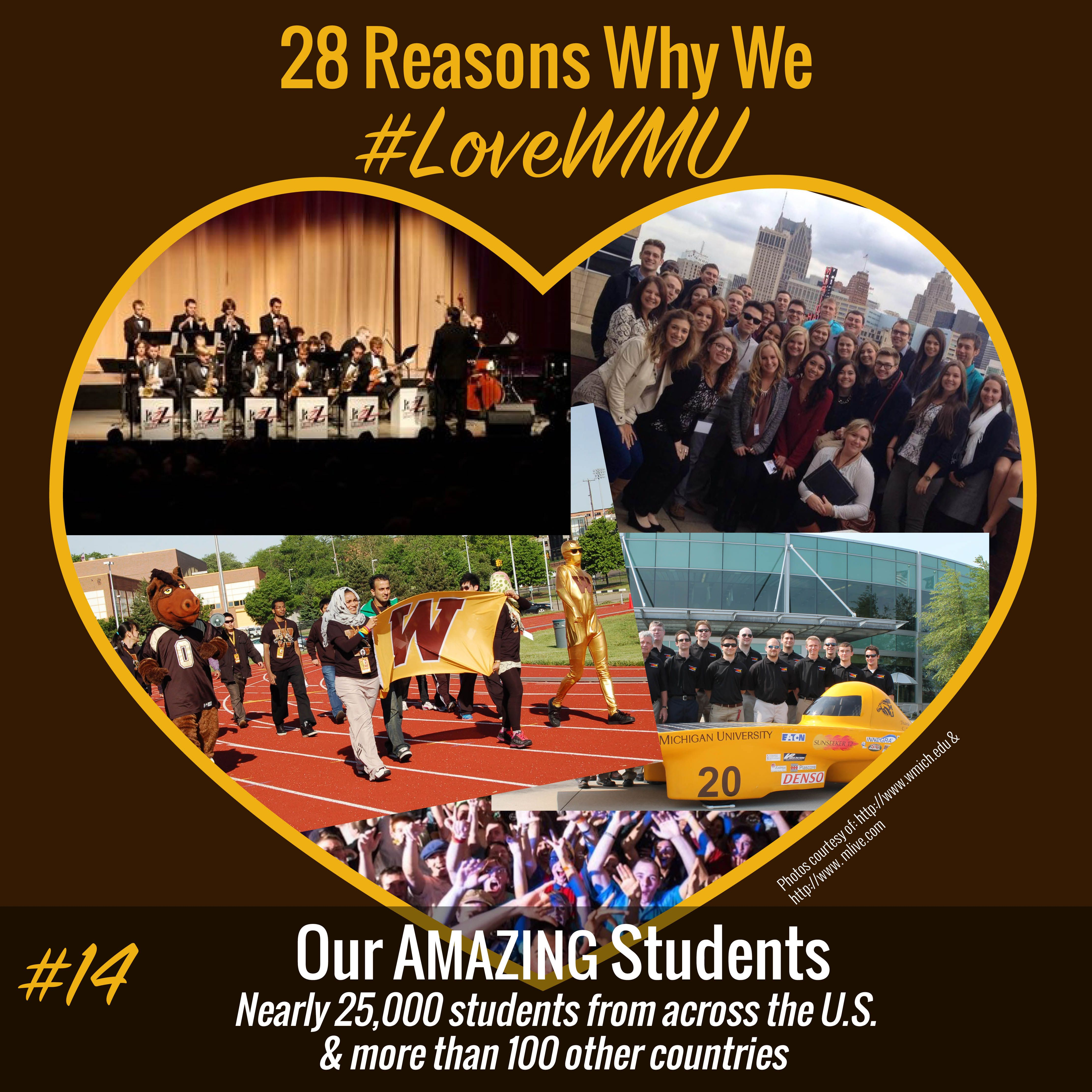 Reason #14 we #LoveWMU: Our students! All Broncos know that our students are what makes #WMU amazing. #GoWest