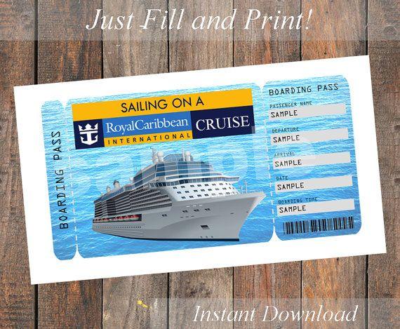 Printable Ticket For A Royal Caribbean Cruise 8 50 Royal Caribbean Cruise Royal Caribbean Caribbean Cruise