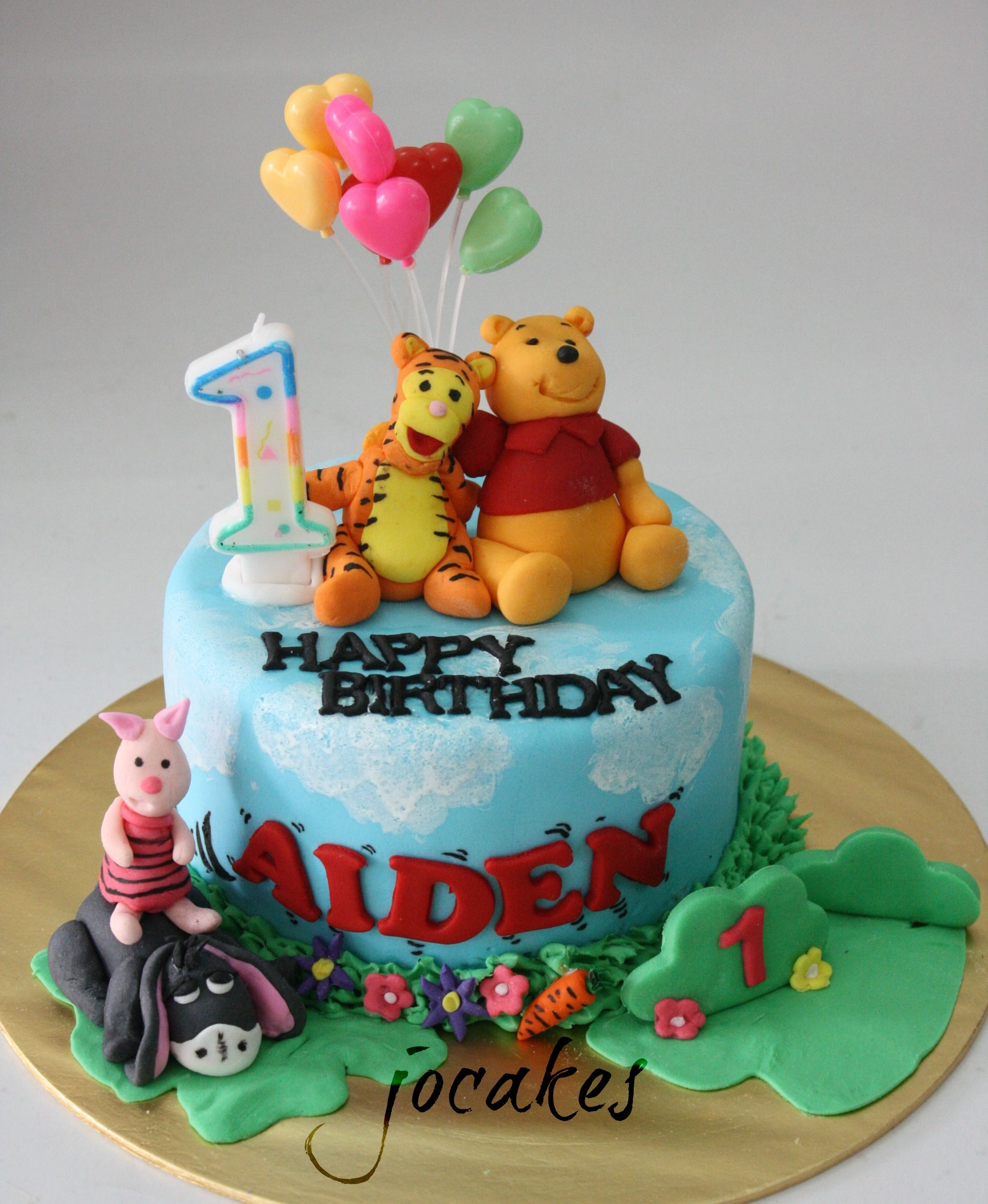 oneyearoldboybirthdaycake Winnie the Pooh and friends cake