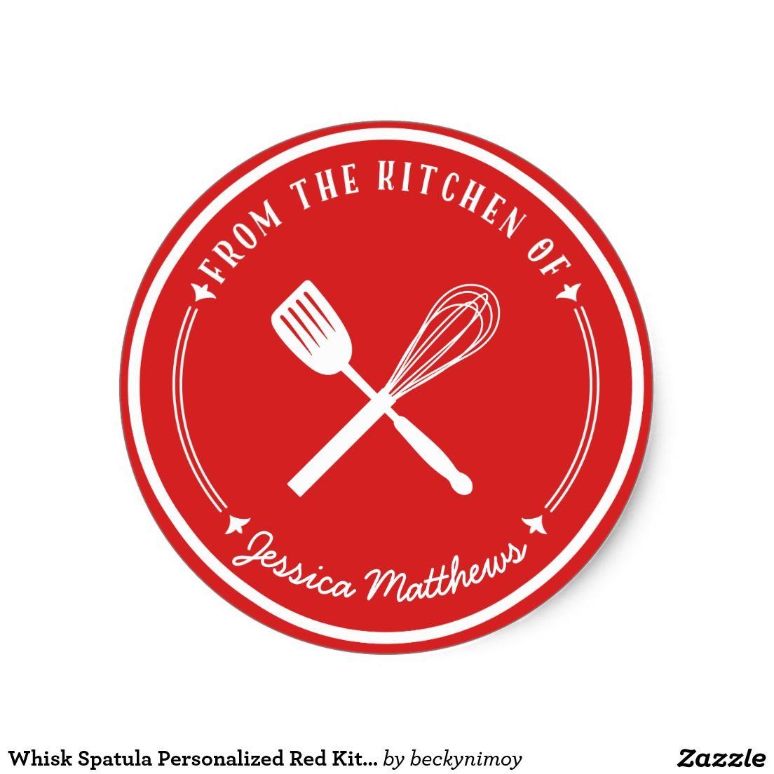 Whisk spatula personalized red kitchen stickers zazzle com