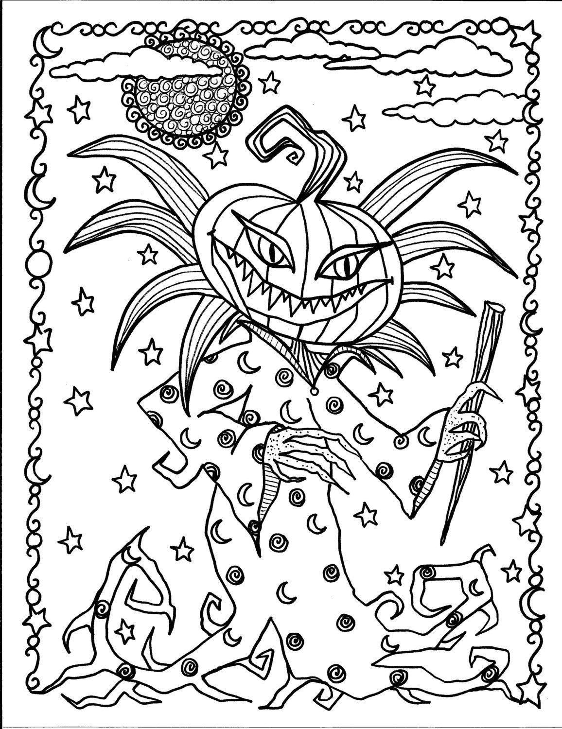 instant download halloween coloring pages 5 от chubbymermaid