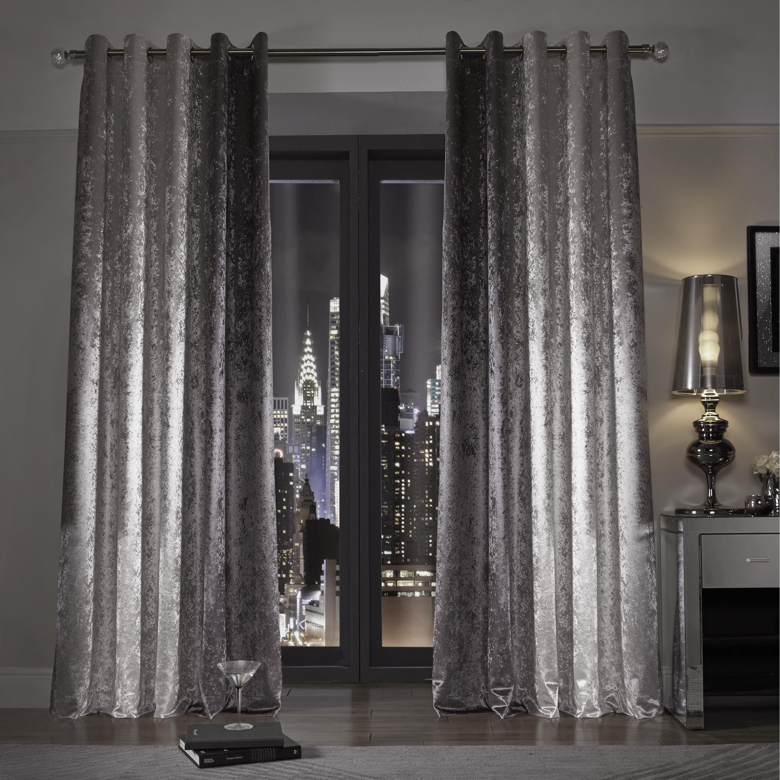 Kylie Minogue At Home Natala Slate Grey Silver Velvet Lined Ready Made Eyelet Ring Top Curtains Silver Bedroom Silver Curtains Sparkly Bedroom