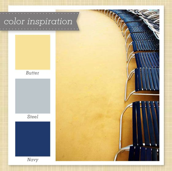 Navy color schemes on pinterest home exterior makeover - Yellow and blue paint scheme ...