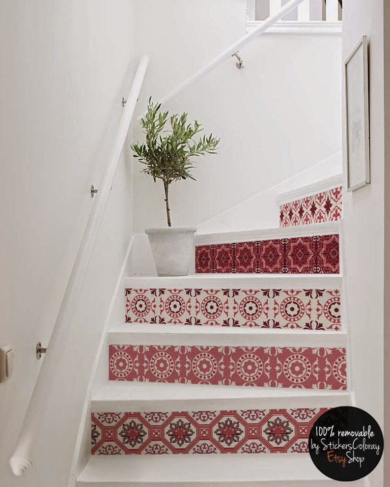 Carved Wood Stair Risers Stair Ideas Stamped Leather: 10 Step Stair Riser Decal, Red And White Decorative Tiles