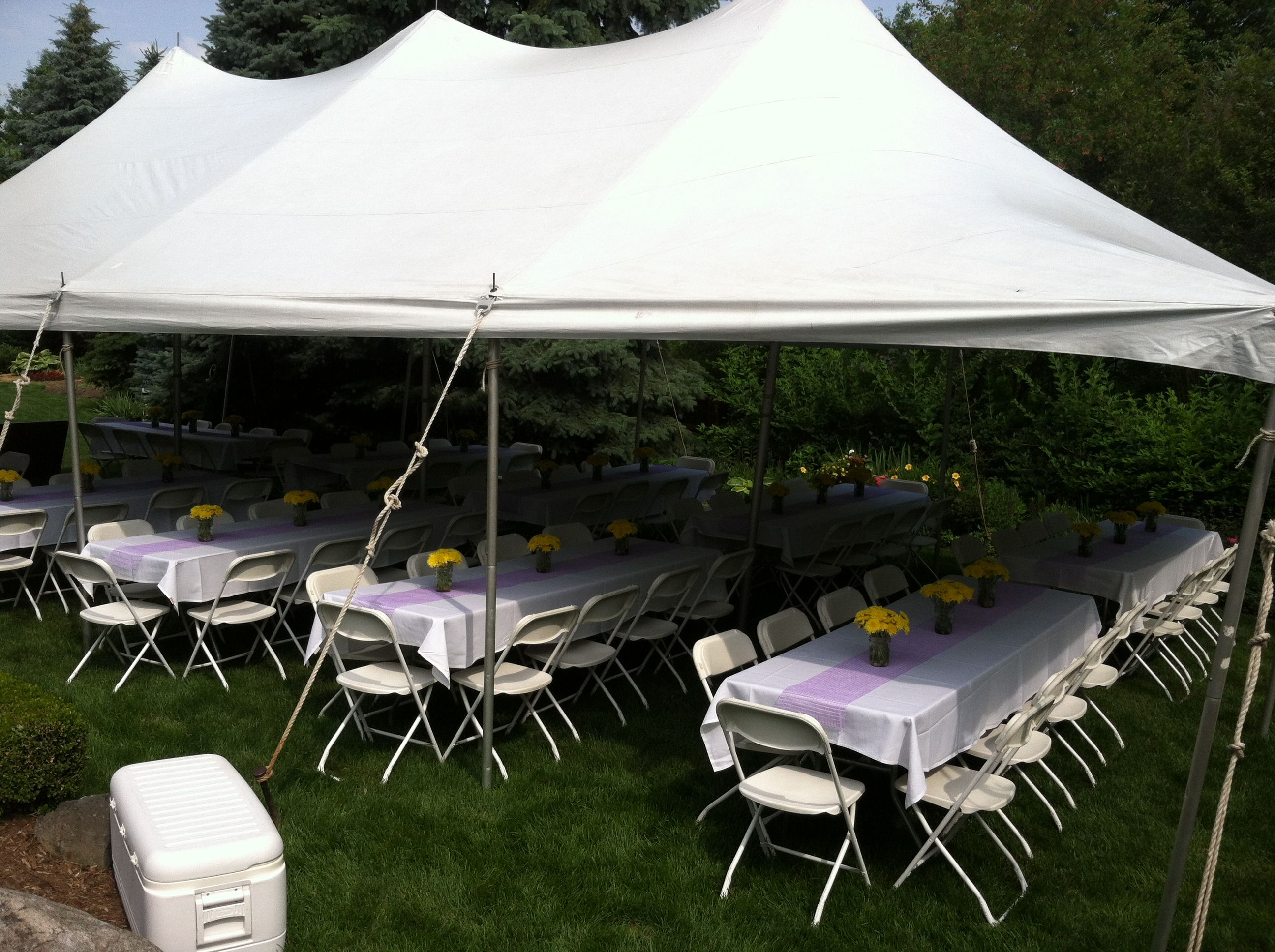 Outdoor graduation party theme outdoor pinterest for Outdoor party tent decorating ideas