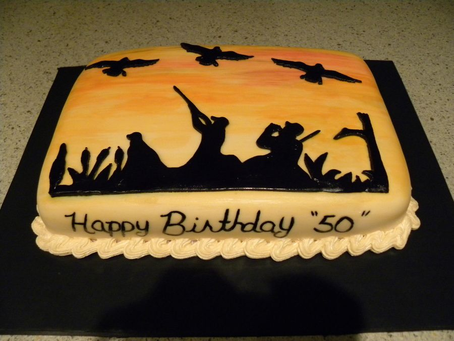 Duck Hunt all fondant with hand painted lettering and sunset for