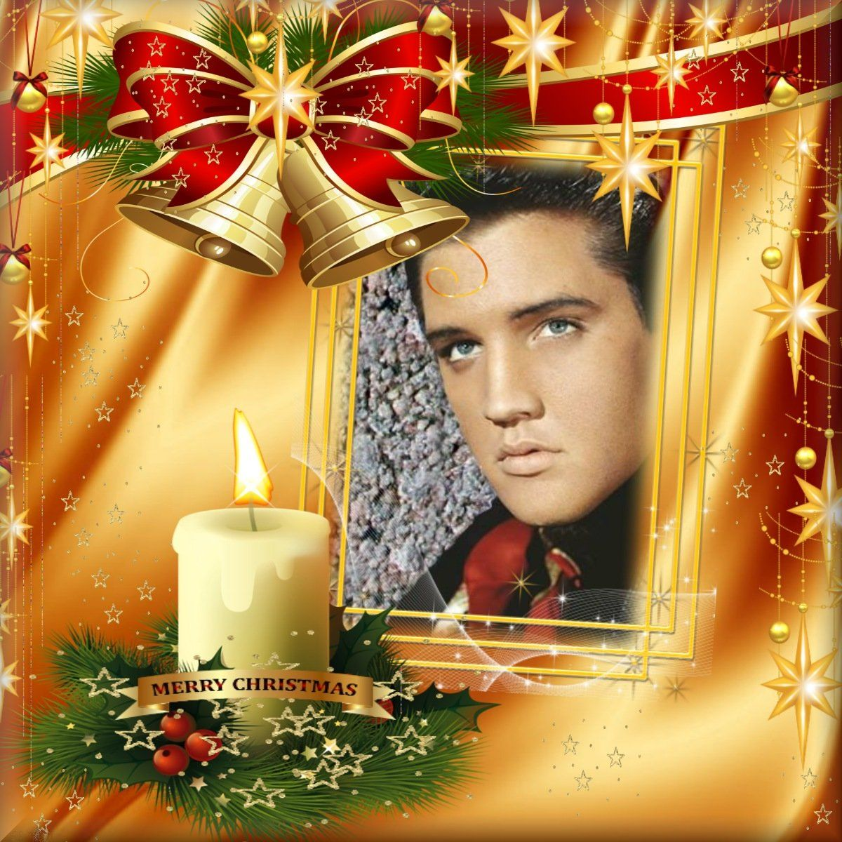 Elvis photo art Christmas with bells and candles in red and gold ...