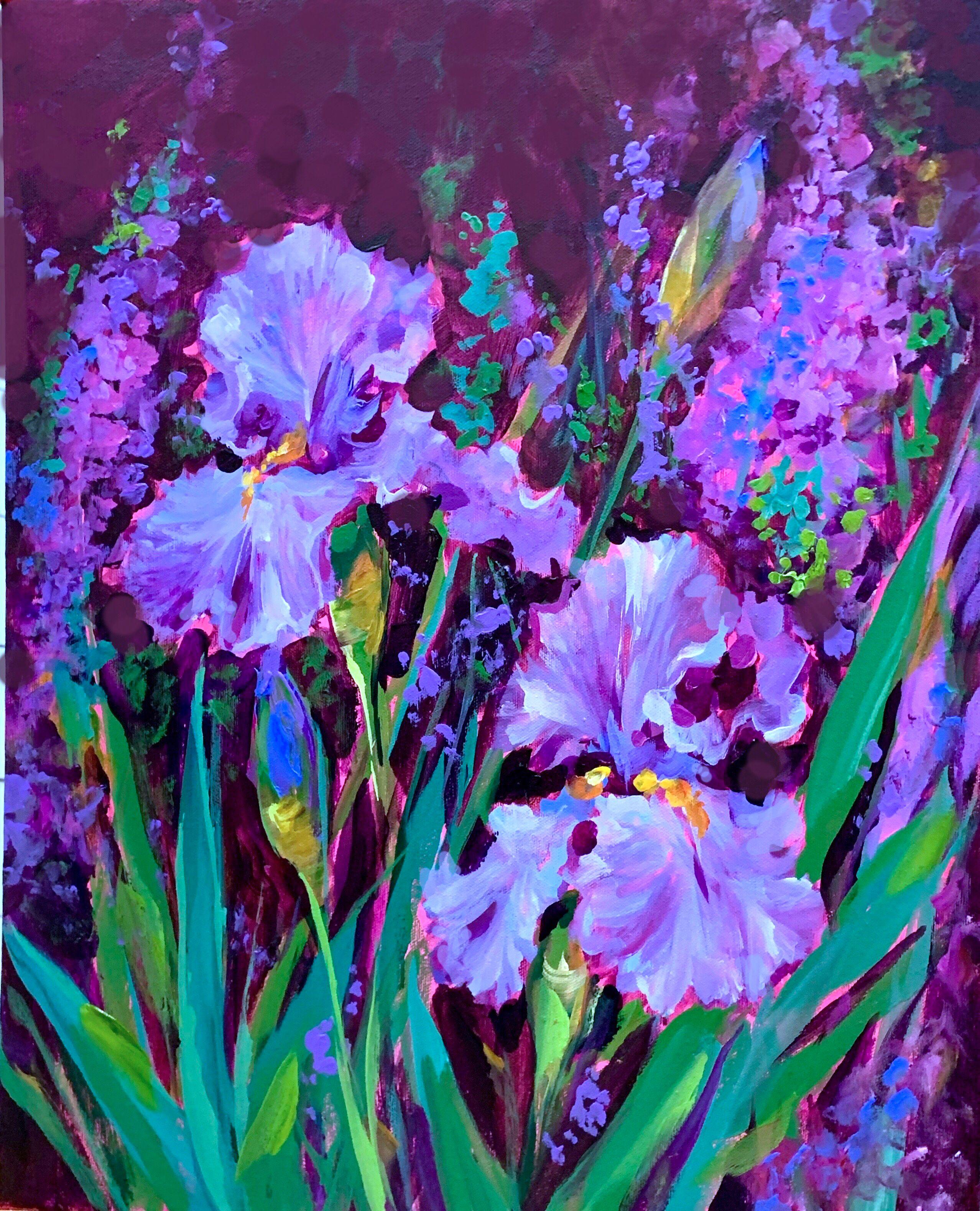 Light from above iris garden acrylic painting 20x16 www
