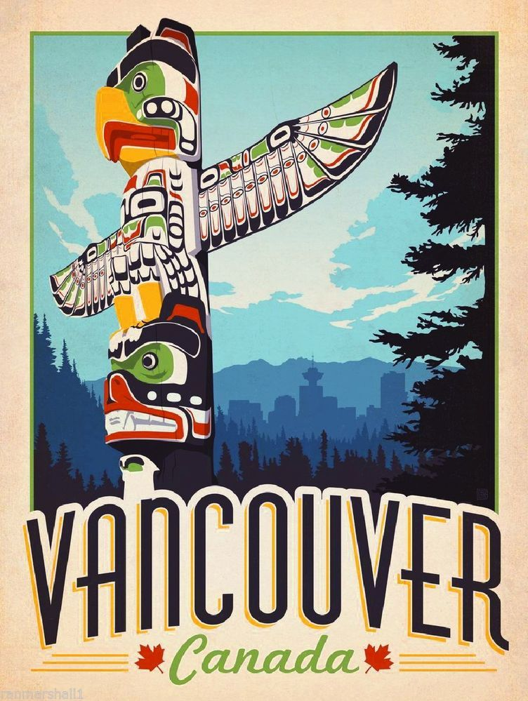 Vancouver British Columbia Canada Totem Travel Advertisement Art Poster Vintage