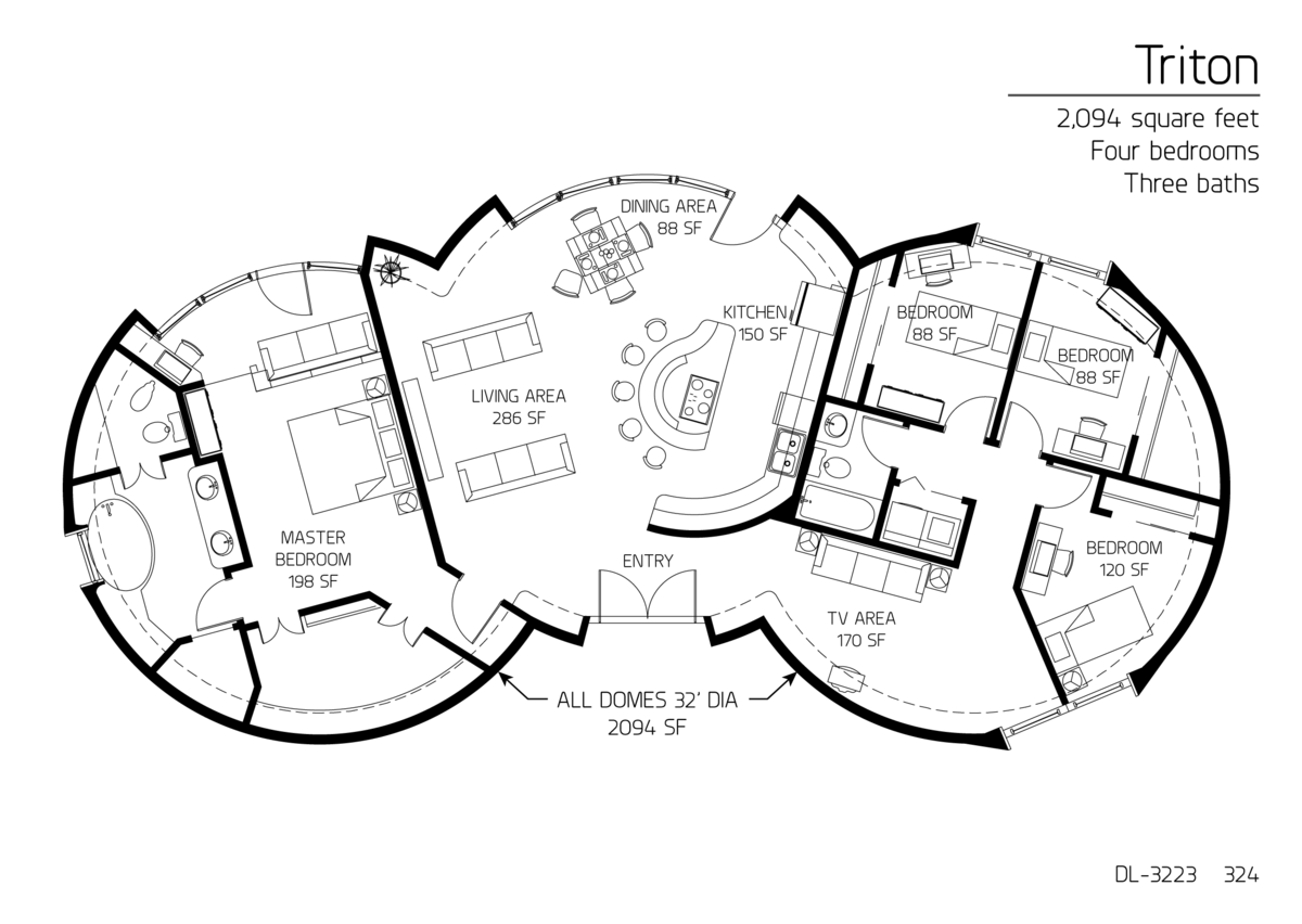 2 094 Square Feet Four Bedrooms Three Baths Round House Plans Earthship Home How To Plan