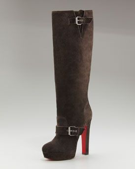 e604b85a597f Christian Louboutin Suede Buckled Platform Boot in Africa (brown ...