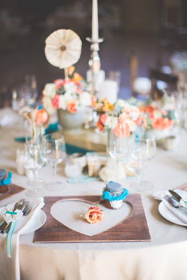 Delightfully handmade teal peach vintage south african wedding table setting wedding decor ideas delightfully handmade diy teal turquoise peach vintage junglespirit Image collections