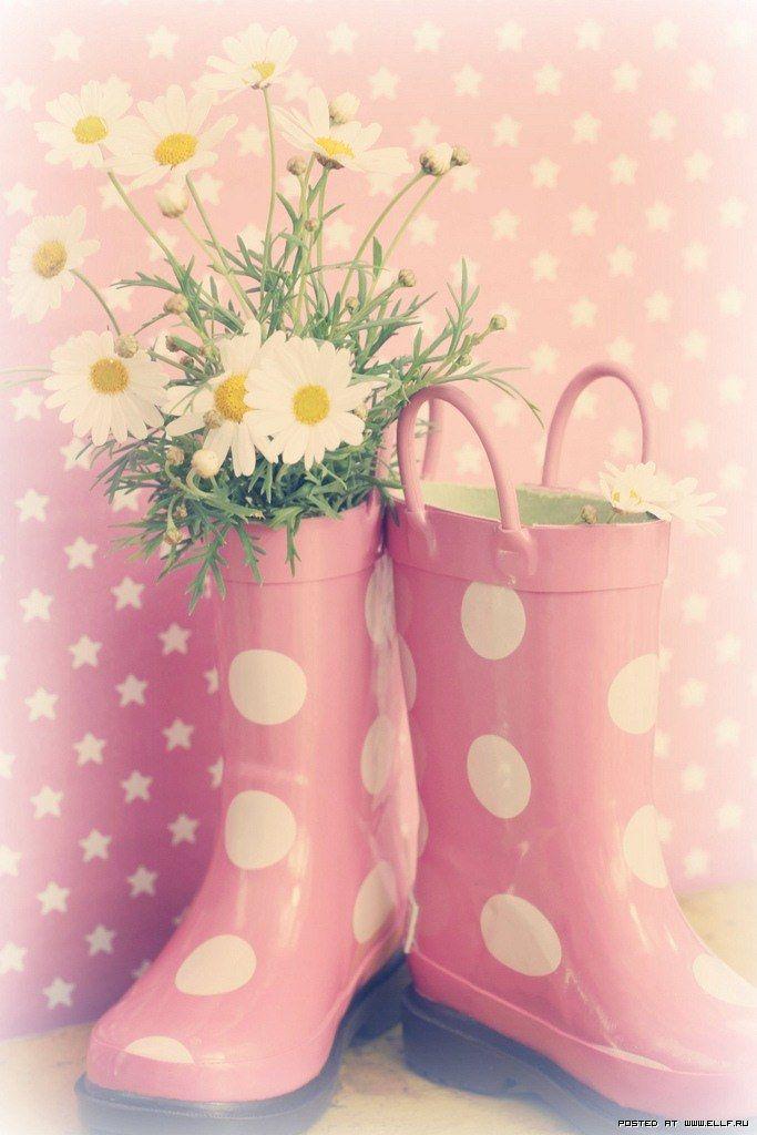 #pink #rainboots #polkadots