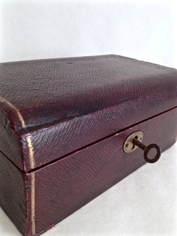 Vintage Leather Jewellery Box With Key Antique Jewelry Box Brass