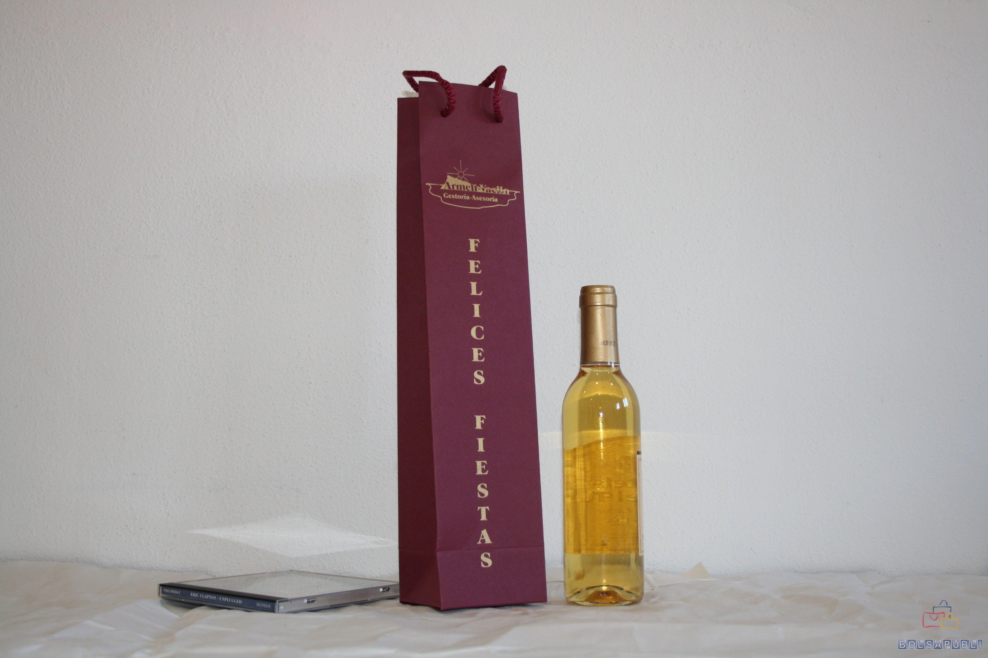 Bolsas de papel impresas para botella de vino