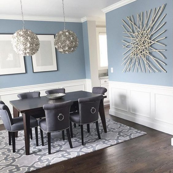 Superbe Modern Coastal Dining Area With Wainscoting Walls That Highlight The Blue  Color