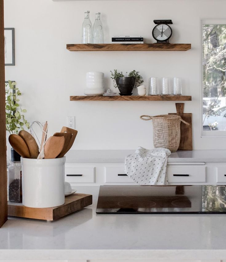 modern farmhouse kitchen island open shelving with a slide in cooktop range in 2019 shelves on farmhouse kitchen open shelves id=45859