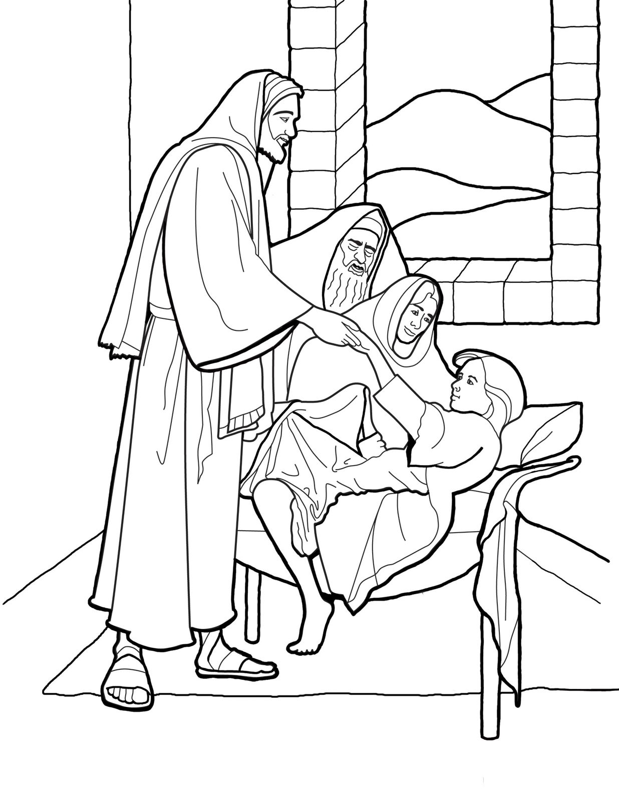 Christ raising Jairus 39 daughter Line art for Primary kids