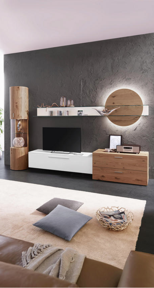 Wohnwand Eichefarben Weiss Living Room Tv Wall Living Room Tv Unit Indian Living Rooms