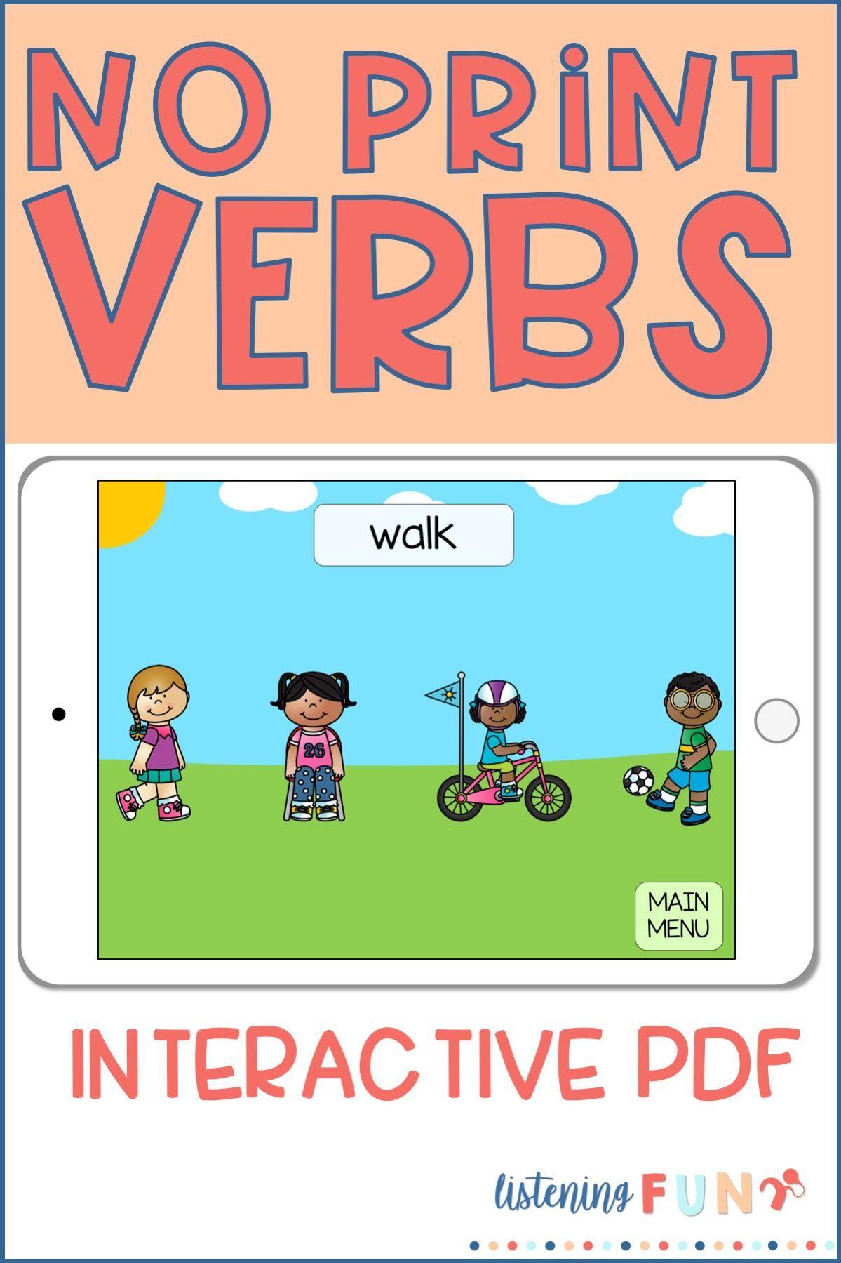 Action Verbs No Print Interactive PDF Action verbs