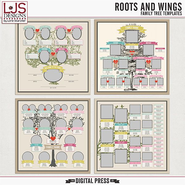Roots And Wings Family Tree Templates Will Make Adding Your Family