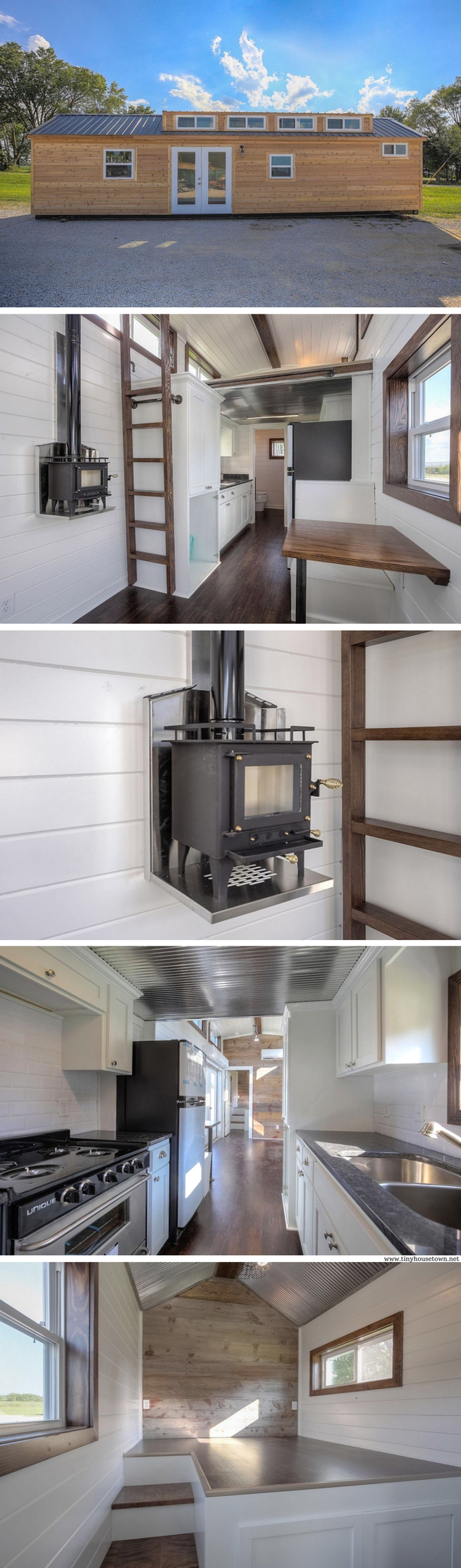 a 380 sq ft cabin made from a repurposed shipping container. the