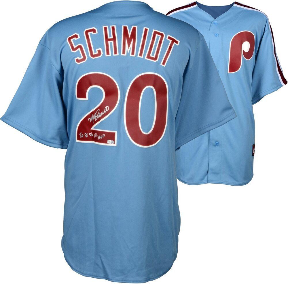 Autographed Mike Schmidt Mlb Philadelphia Phillies Replica Blue Jersey W Insc Sportsmemorabilia Autograph Jerse Mike Schmidt Philadelphia Phillies Phillies