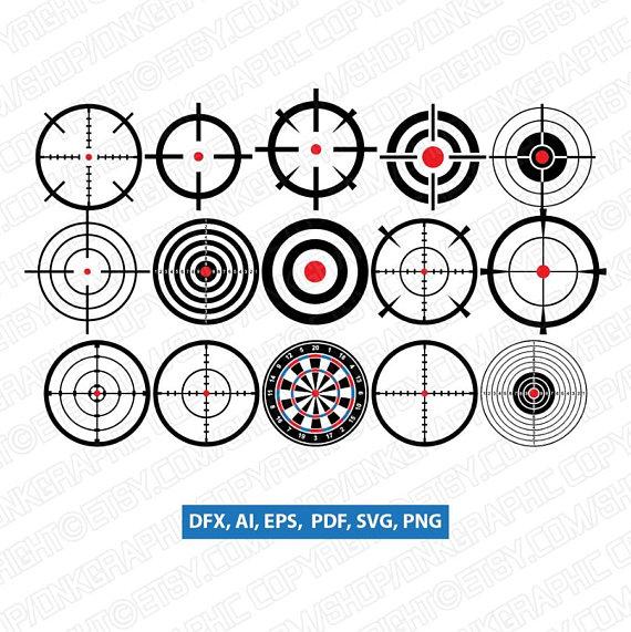 15 Bullseye Crosshair Gaming Hunting Shooting Target