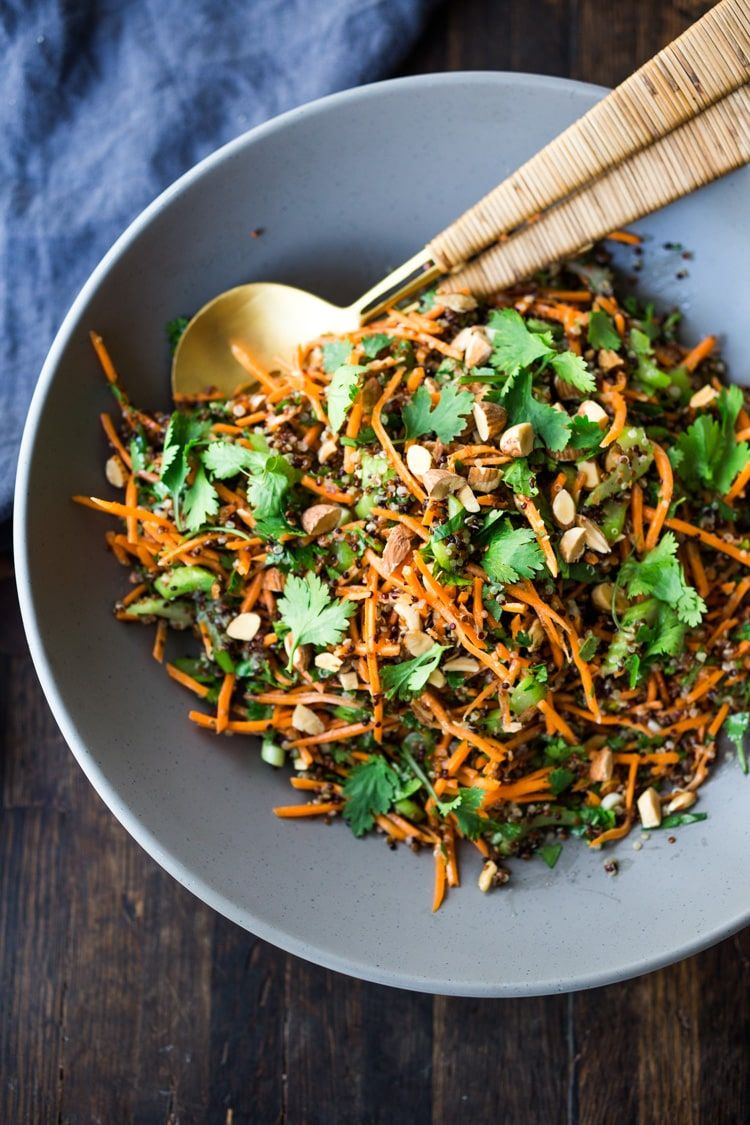 Carrot Quinoa Salad with Almonds and Raw Apple Cider Vinaigrette- a delicious vegan salad that can