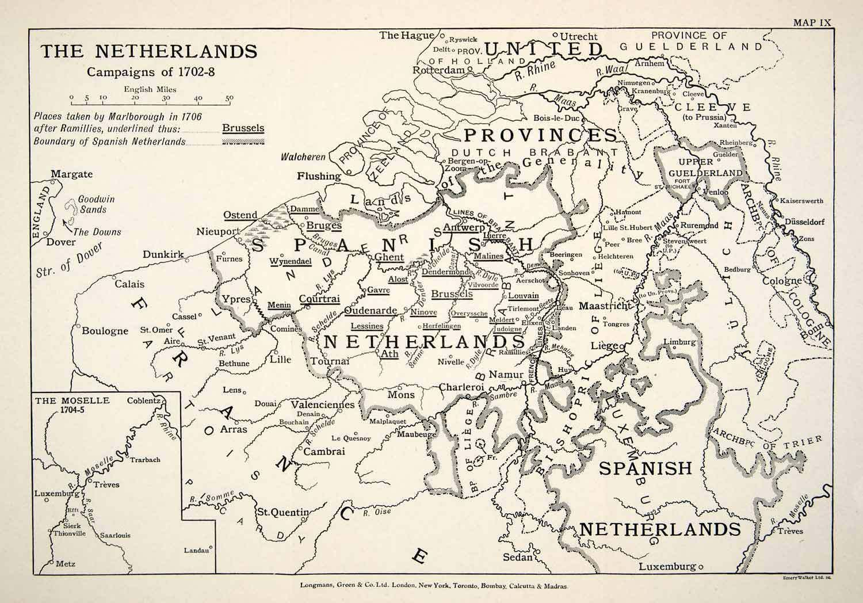 1948 Print Map Netherlands Military Campaign War Spanish Succession XEM5 | eBay