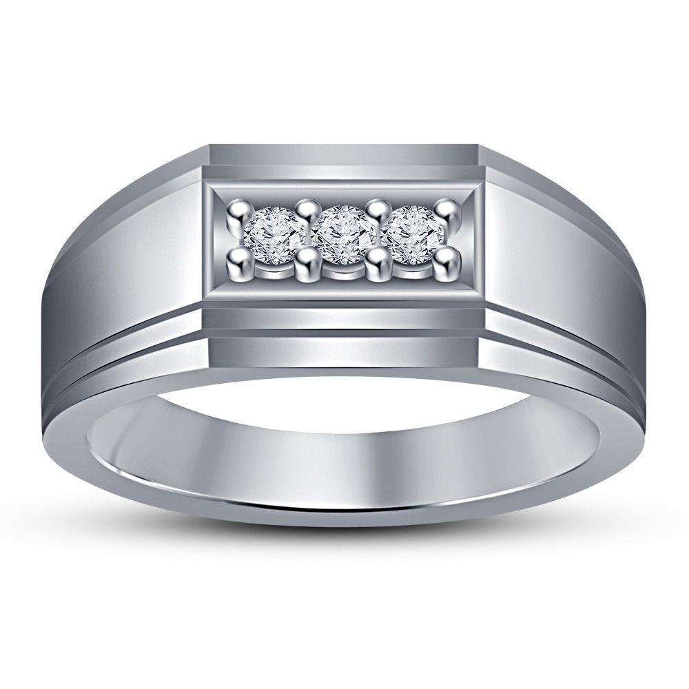 4e3e64e36ae2c Men's Diamond 3 Stone Solid 14K White Gold Finish Wedding Band ...
